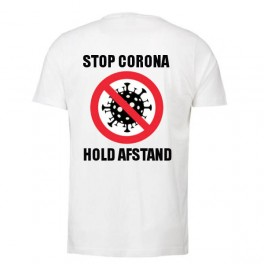 Stop Corona - Hold Afstand, Hvid (T-Shirt)