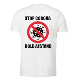 Stop Corona - Hold Afstand, Hvid (T-Shirt)