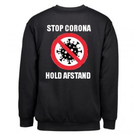 Stop Corona - Hold Afstand, Sort (Sweatshirt)