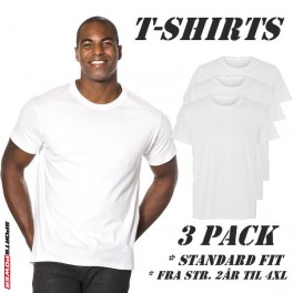Standard T-Shirts, 3-PACK (Hvid)