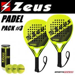 Zeus Padel Pack-3: PRO (2 x Bat + 3 bolde)
